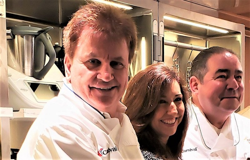 From L to R, Chef Rudi Sodamin, Carnival Cruise Line President Christine Duffy and Chef Emeril Ligasse in the new Carnival Kitchen. Photo by Susan J. Young