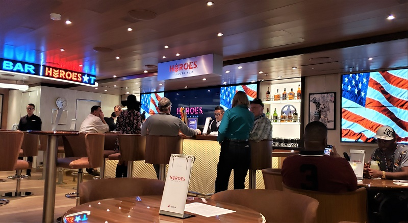 One of the new spaces onboard is Heroes Bar, honoring members of the military. Photo by Susan J. Young