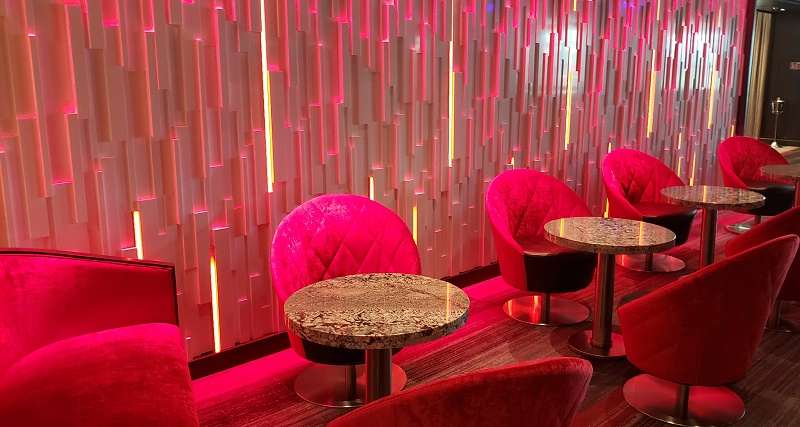 Cool seating and lighting in the Piano Bar.