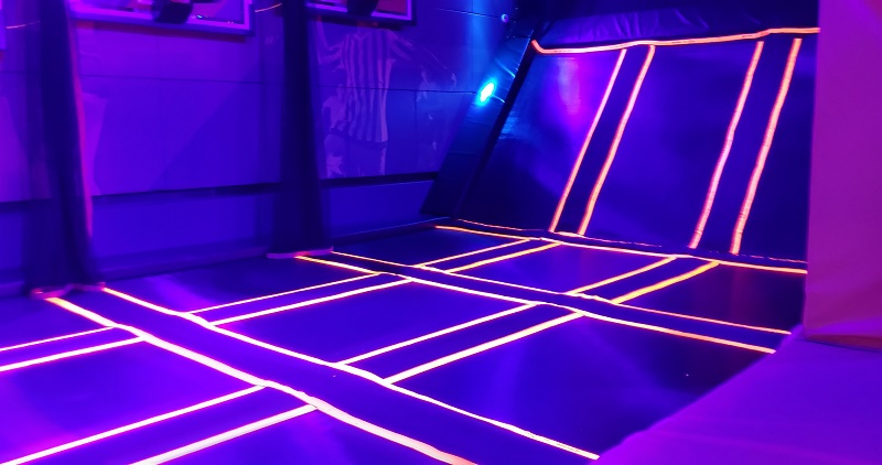 Individual trampolines in Sky Zone. Photo by Susan J. Young
