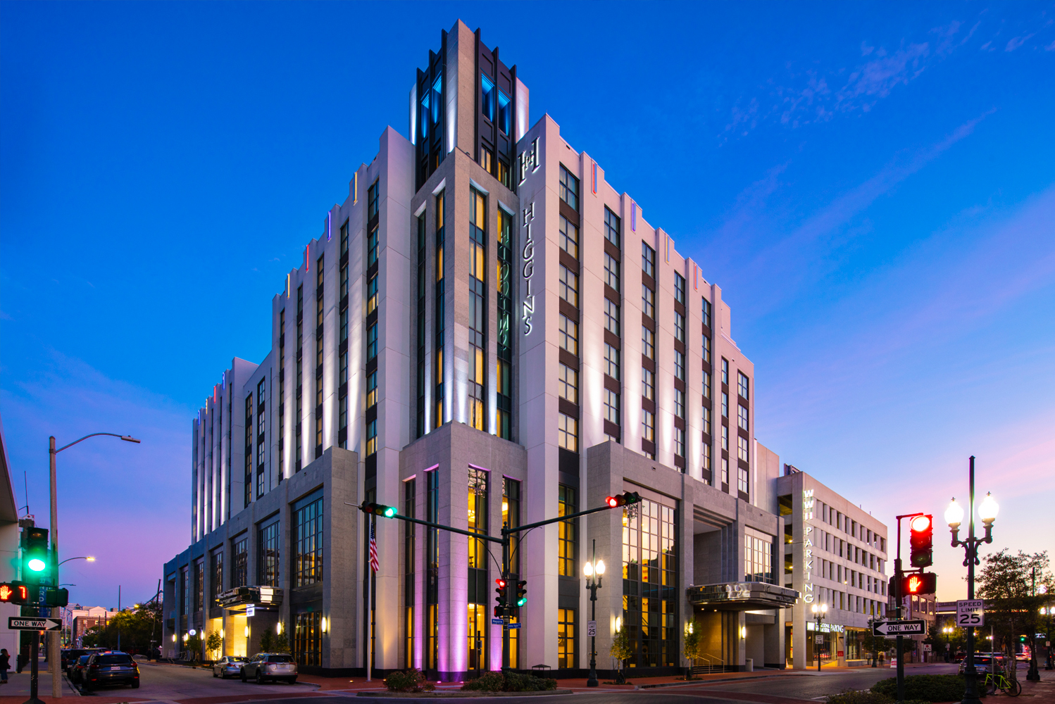 The National WWII Museum opened its landmark hotel property, The Higgins Hotel New Orleans, Curio Collection by Hilton. Architectural firm Nichols Brosch Wurst Wolfe & Associates gave the hotel its 1940s-themed details.