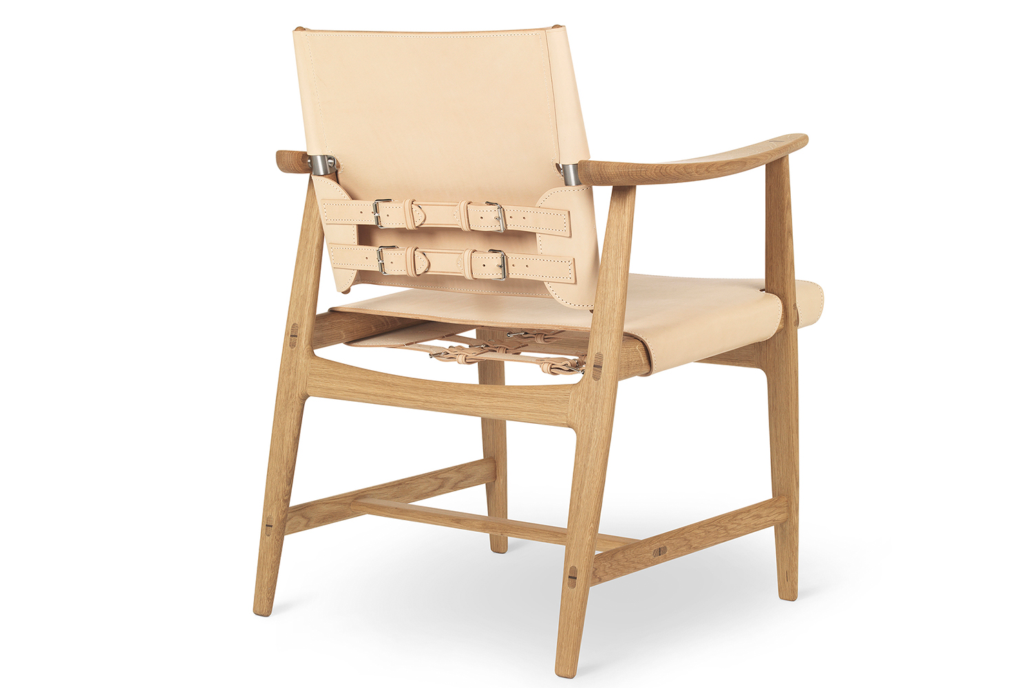 The chair's mortise and tenon joints are completed with wedges in contrasting wood.