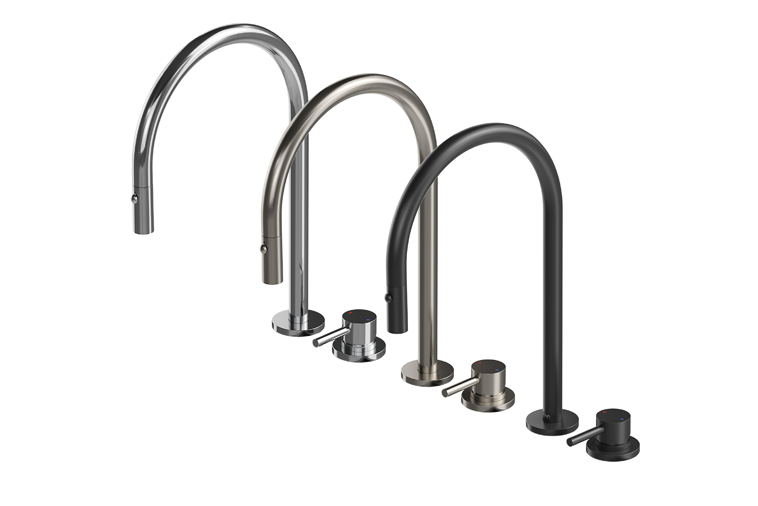 The shared parts and pieces within the modular plumbing system allow builders to work from one standard kit of parts with a range of configurations.