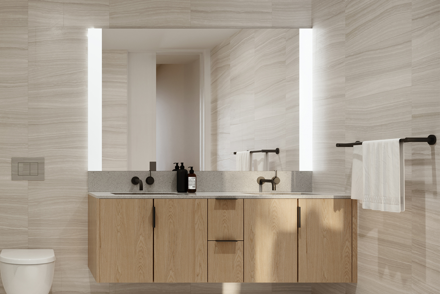 In addition to the standard brushed nickel and polished chrome finishes, KOVA Select products have a premium matte black finish option for an elevated design aesthetic.