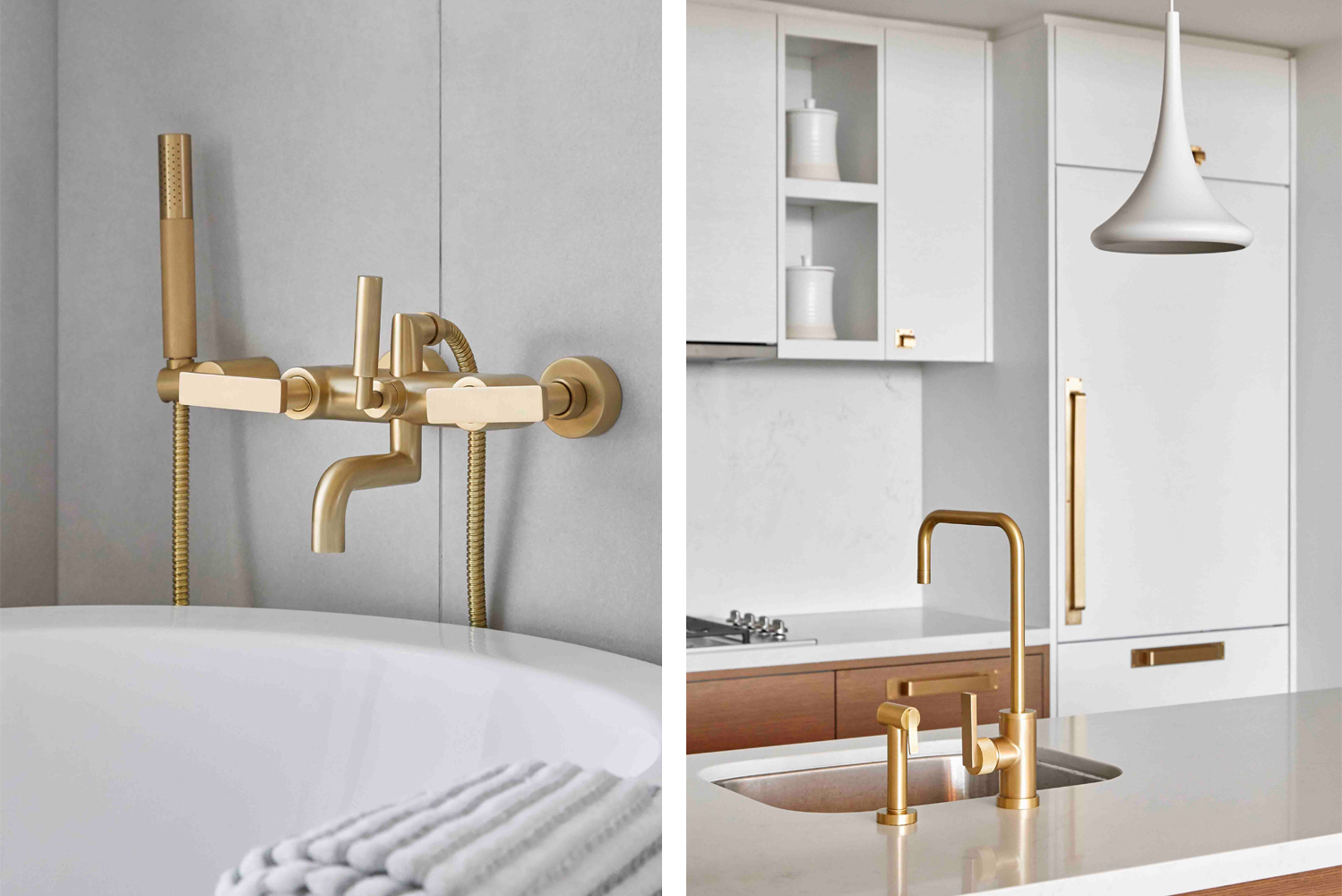 A range of finishes is available, from modern to industrial, with antique brass, matte black and a bold red acting as stand outs.