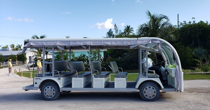 Tram that transports guests to Silver Cove