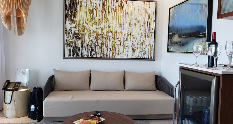 Living area of private studio cabana