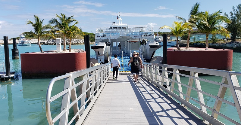 Guests return to their ship via a small ship transport