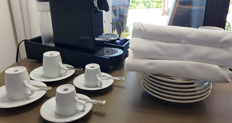 Coffee and tea set-up in studio cabana. There is also a fridge with cold drinks.
