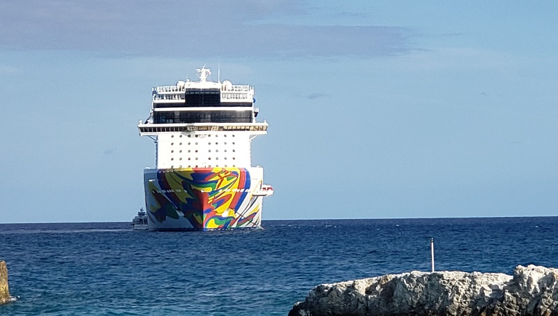 Norwegian Encore anchored off Great Stirrup Cay