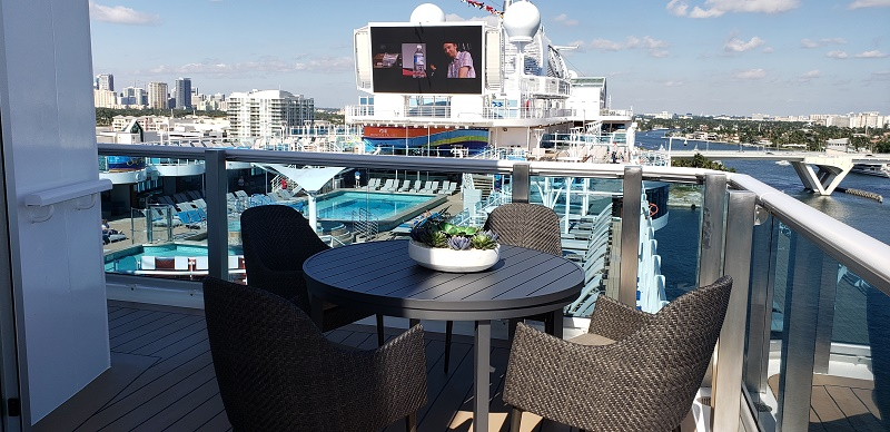 View to the pool deck from Sky Princess' Sky Suite. Photo by Susan J. Young