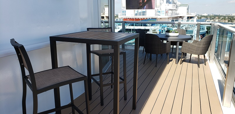 Outdoor dining spots for Sky Suite guests. Photo by Susan J. Young