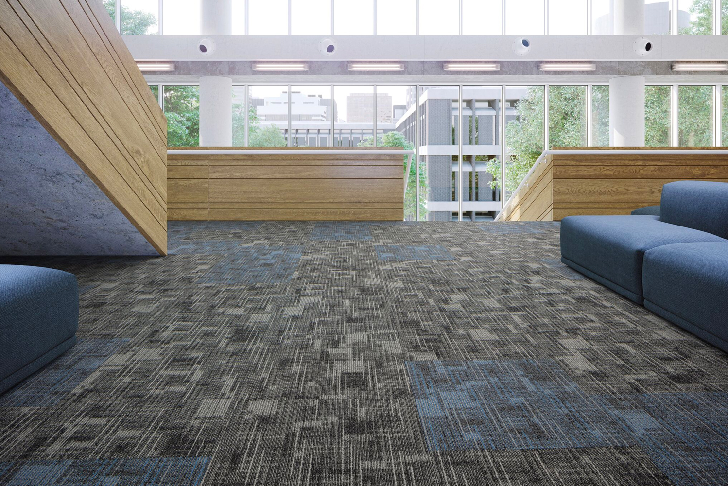 Designed by Jhane Barnes, this collection features two soft surface styles in Powerbond and modular platforms that offer flooring solutions for office, education and hospitality spaces.