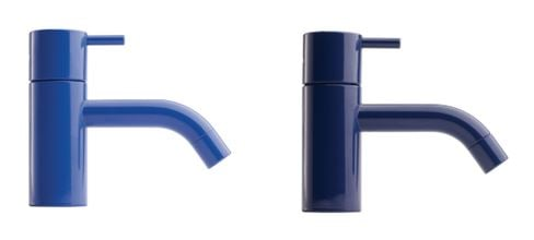 Hastings Tile & Bath, a U.S. importer of the Danish brand Vola, has two finishes aligned with Classic Blue.