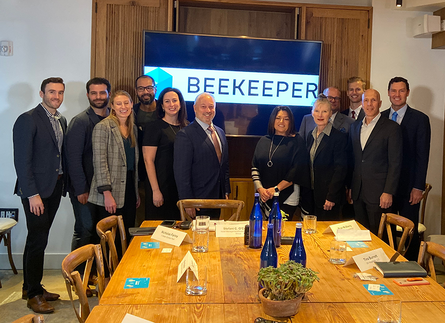 """Panelists from Hotel Management's recent Executive Roundtable, """"Reimagining Hospitality: Innovation that Sticks and Transforms Hotel Operations,"""" sponsored by Beekeeper pose for a picture."""