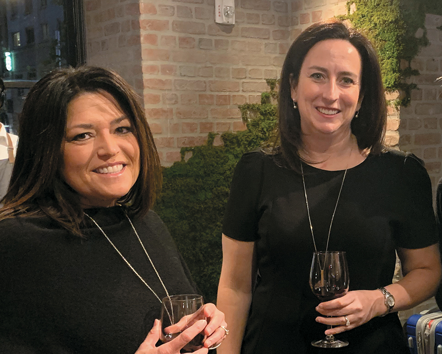 """Burnett and Andrea Belfanti, executive director, International Society of Hospitality Consultants, enjoy the post-Executive Roundtable """"happy hour"""" at 1 Hotel Central Park."""