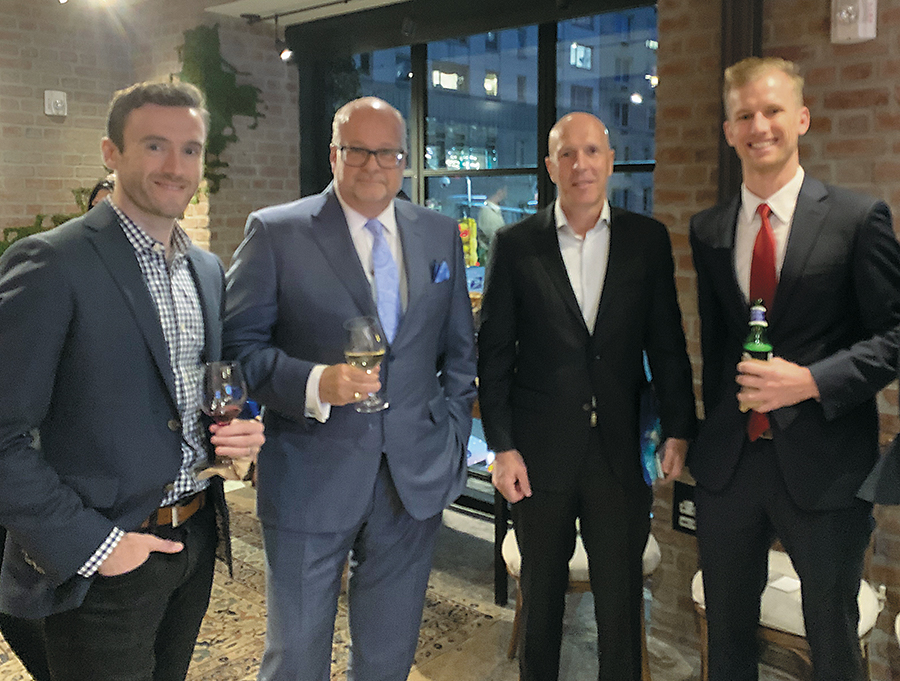 Enjoying a social platform at 1 Hotel Central Park [from left] are: Horn, McSherry, Rosenberg and Beekeeper account executive Chris Wloch.