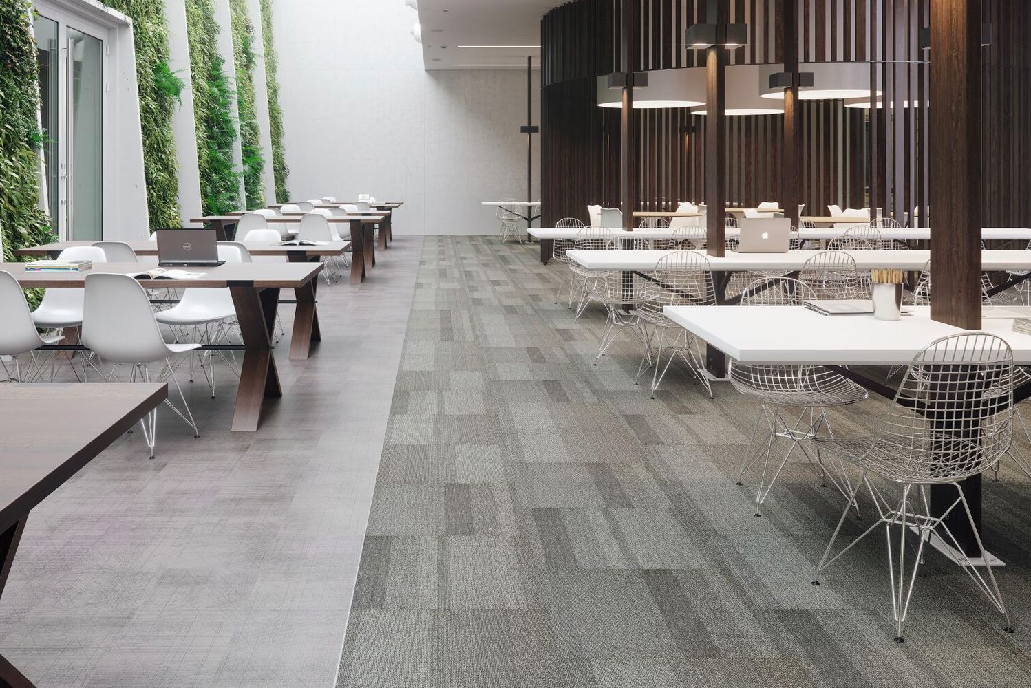 Braided modular carpet and Meshwork LVT are collaborations with designer Suzanne Tick.
