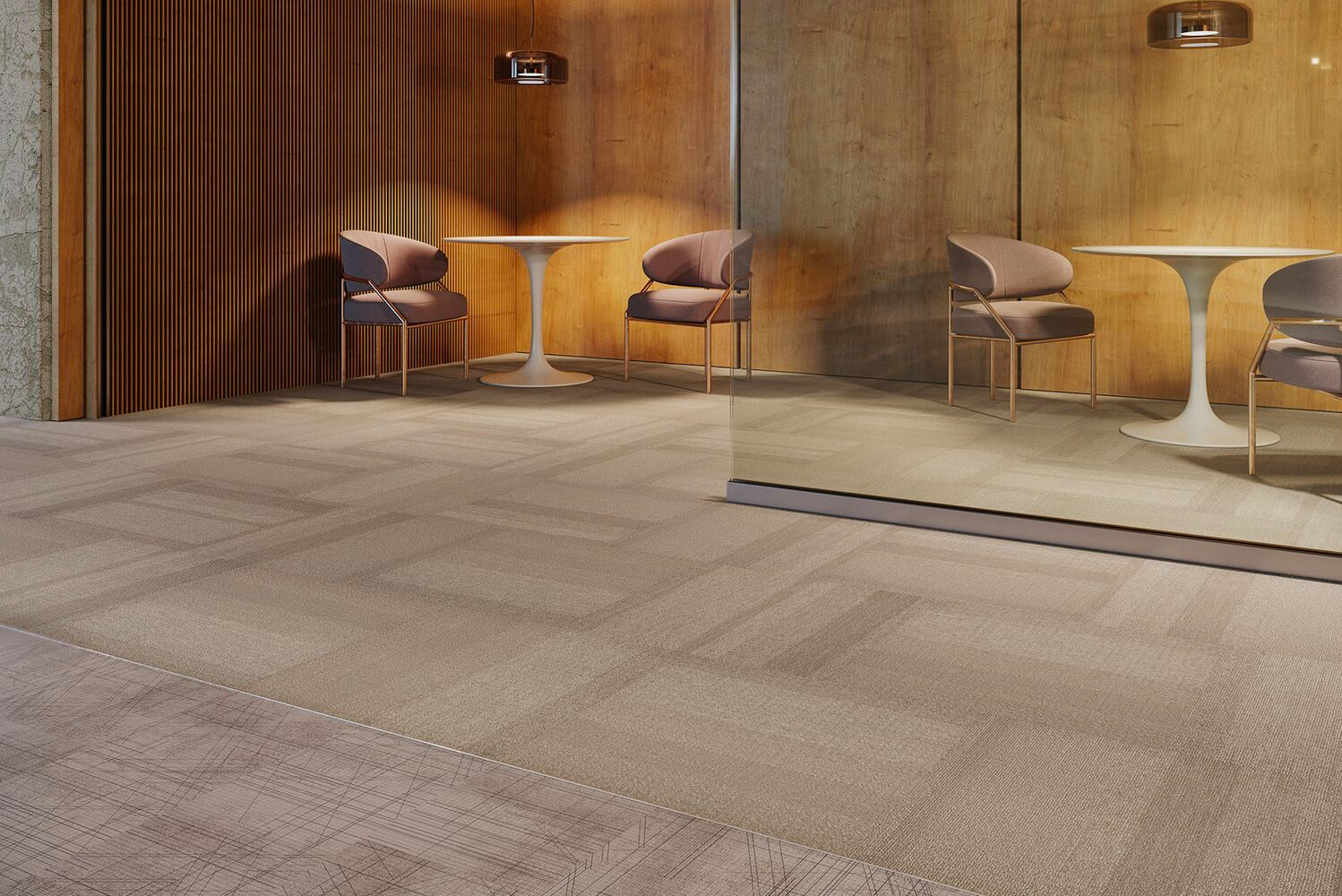 Meshwork LVT is a graphically inspired design that features a layering of vertical, horizontal and diagonal lines.