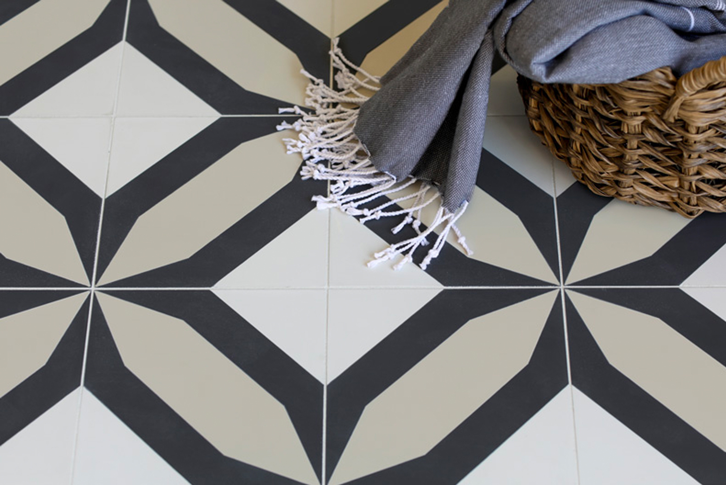 Inspired by the psychedelic wallpaper that bedecked her childhood home in Australia, tessellations as well as by neenish tarts, each handmade cement tile was designed with purpose.