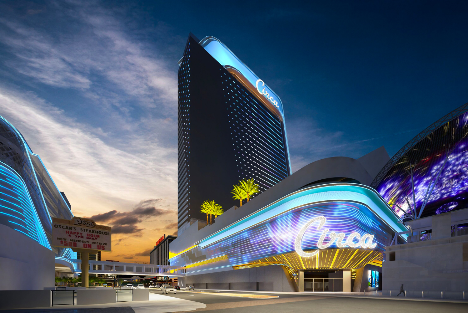 Located on the Fremont Street Experience, the 1.25 million-square-foot, 777-room property will stand as the tallest structure north of the Las Vegas Strip.
