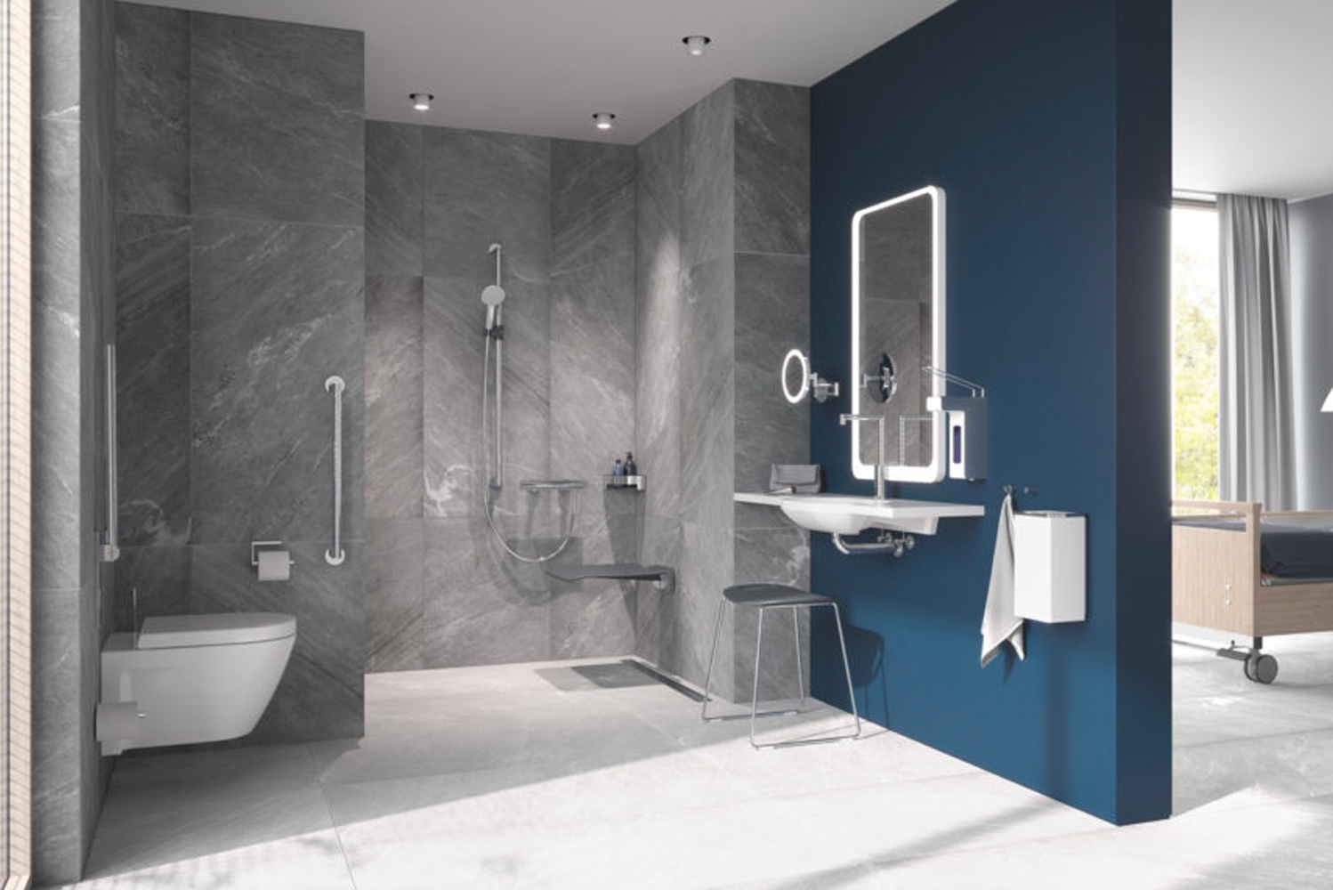 Comprised of fold-down shower seats and fold-down/out support rails, System 900 enhances accessibility.