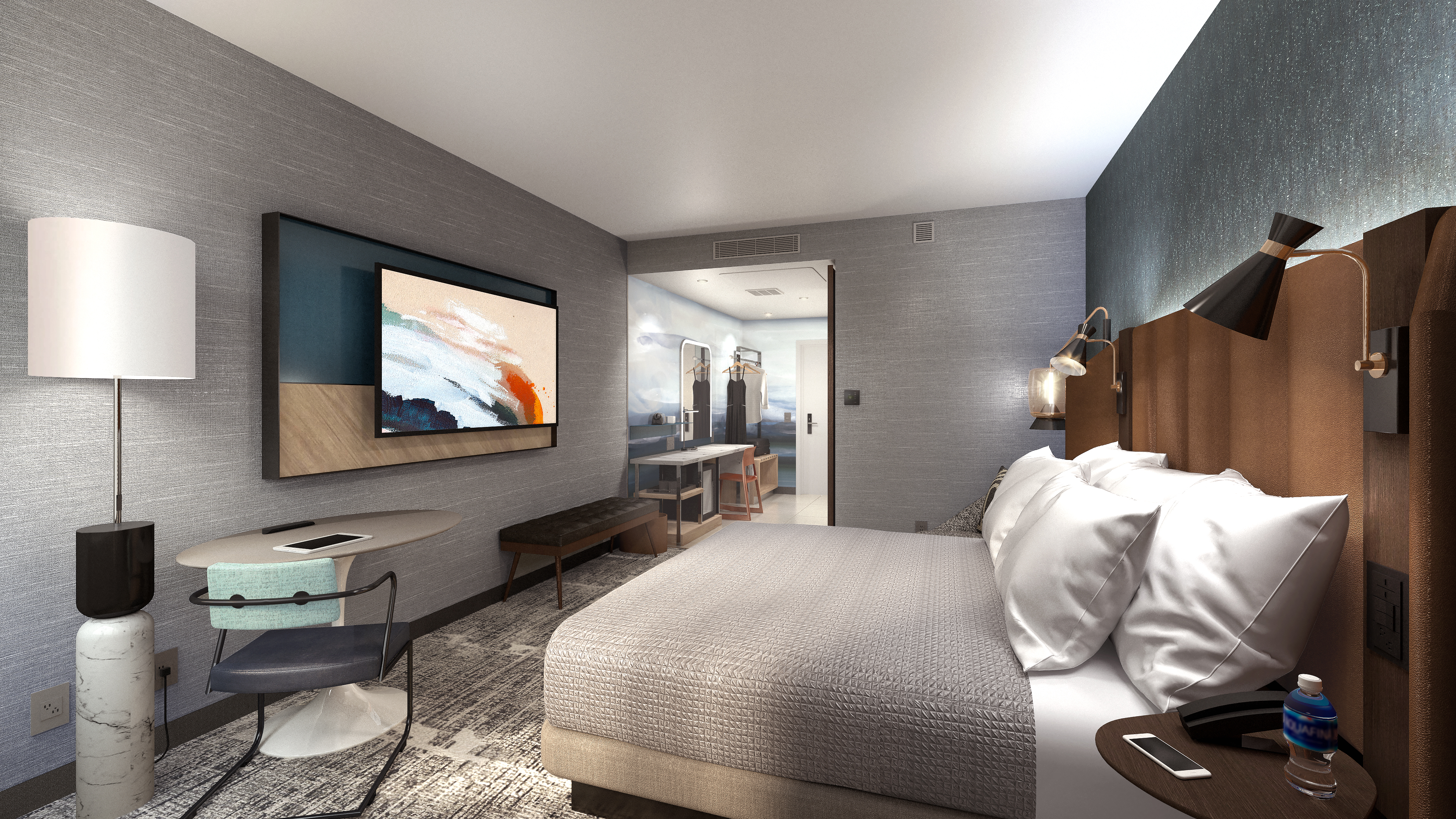 Tempo by Hilton's king guestroom features power-up and power-down zones.