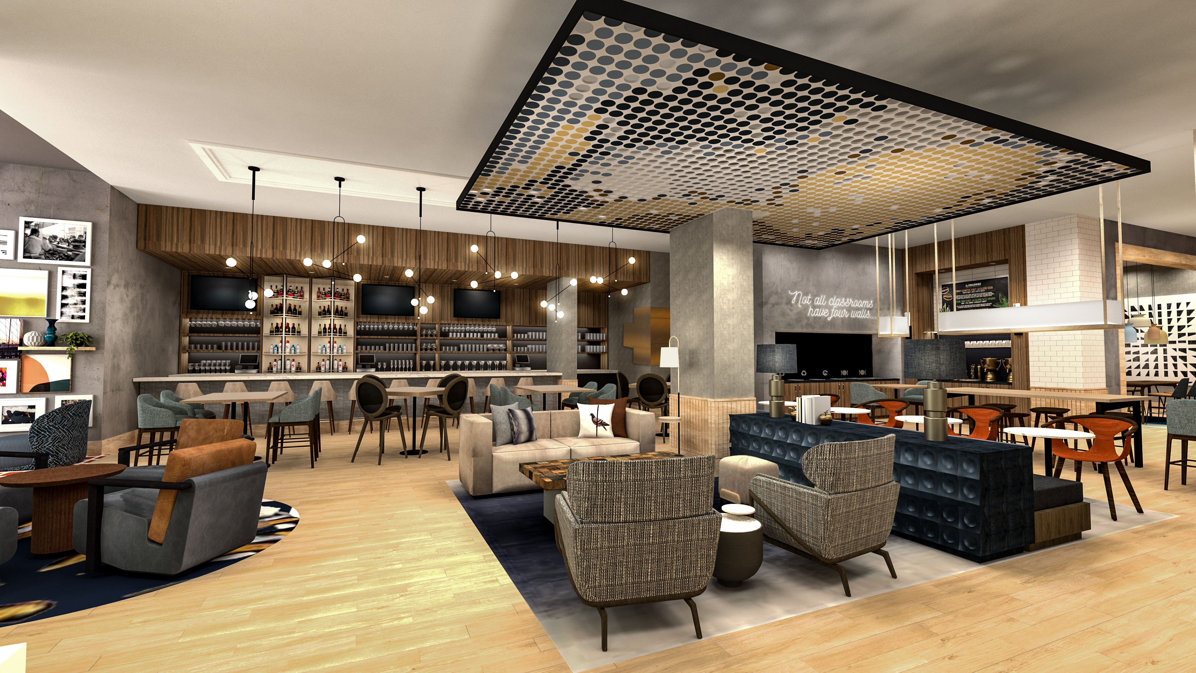 Gray, black and tan highlight Tempo by Hilton's East Coast bar area.