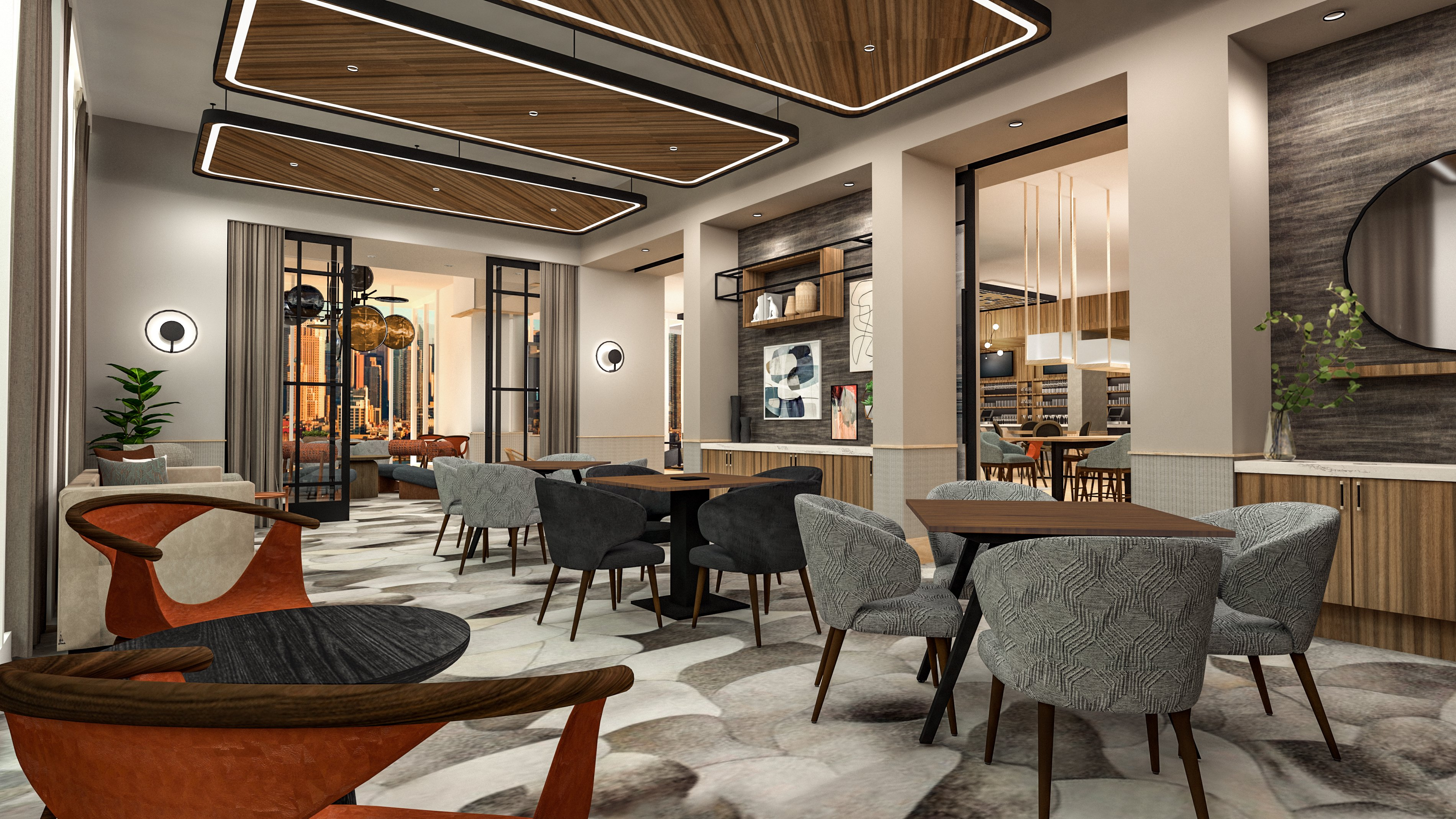 Intimate seating is found outside the meeting space in Tempo by Hilton's East Coast design.