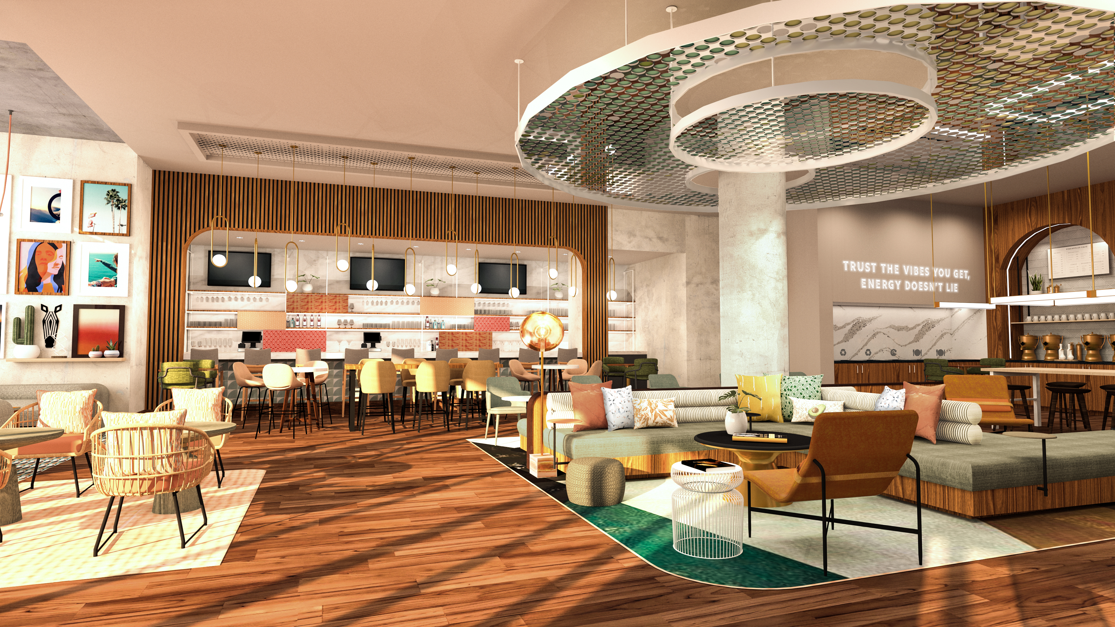 Citrus shades are featured in Tempo by Hilton's West Coast bar area.