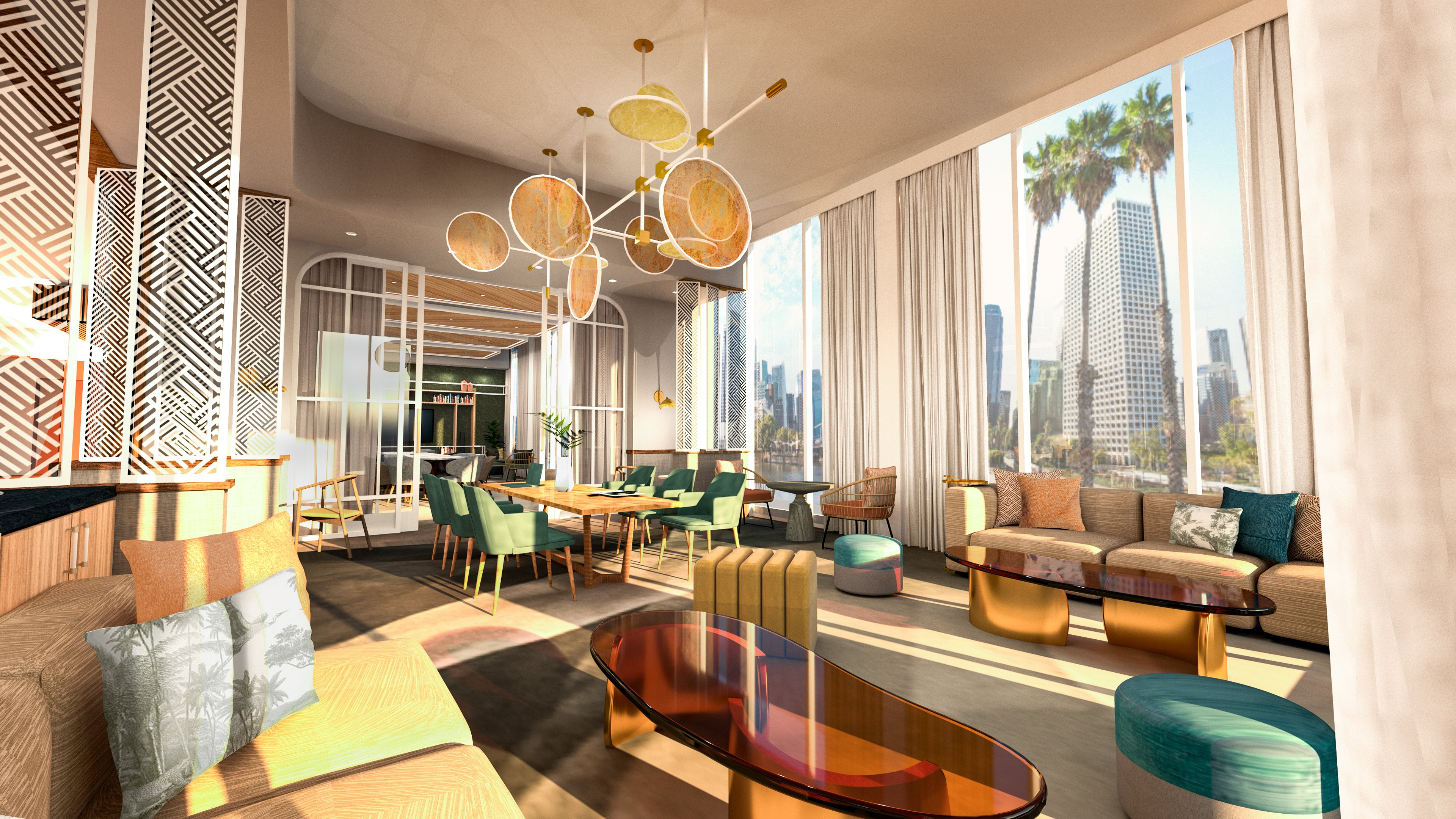 The West Coast design scheme for Tempo by Hilton's informal lounge.