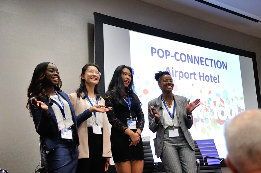 The Florida International University team [from left], Gigi Jeudy, Bell Pan, Crystal Ji and Lauren Doughty, created an airport hotel concept. Photo credit: Edward Fox