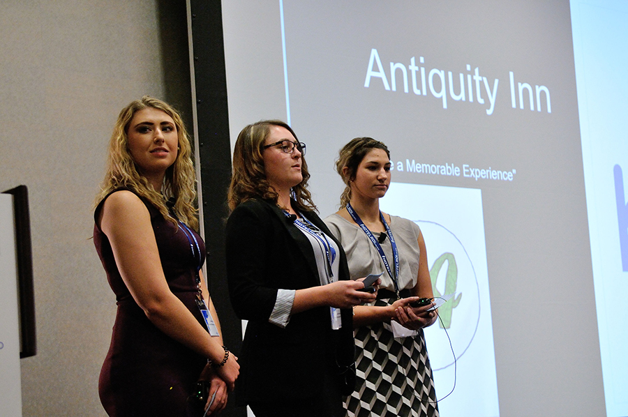 "University of Northwestern Ohio students Tamara Knight, Lanie McCartey and Meredith Spolyar ""developed"" the 93-key Antiquity Inn. Photo credit: Edward Fox"