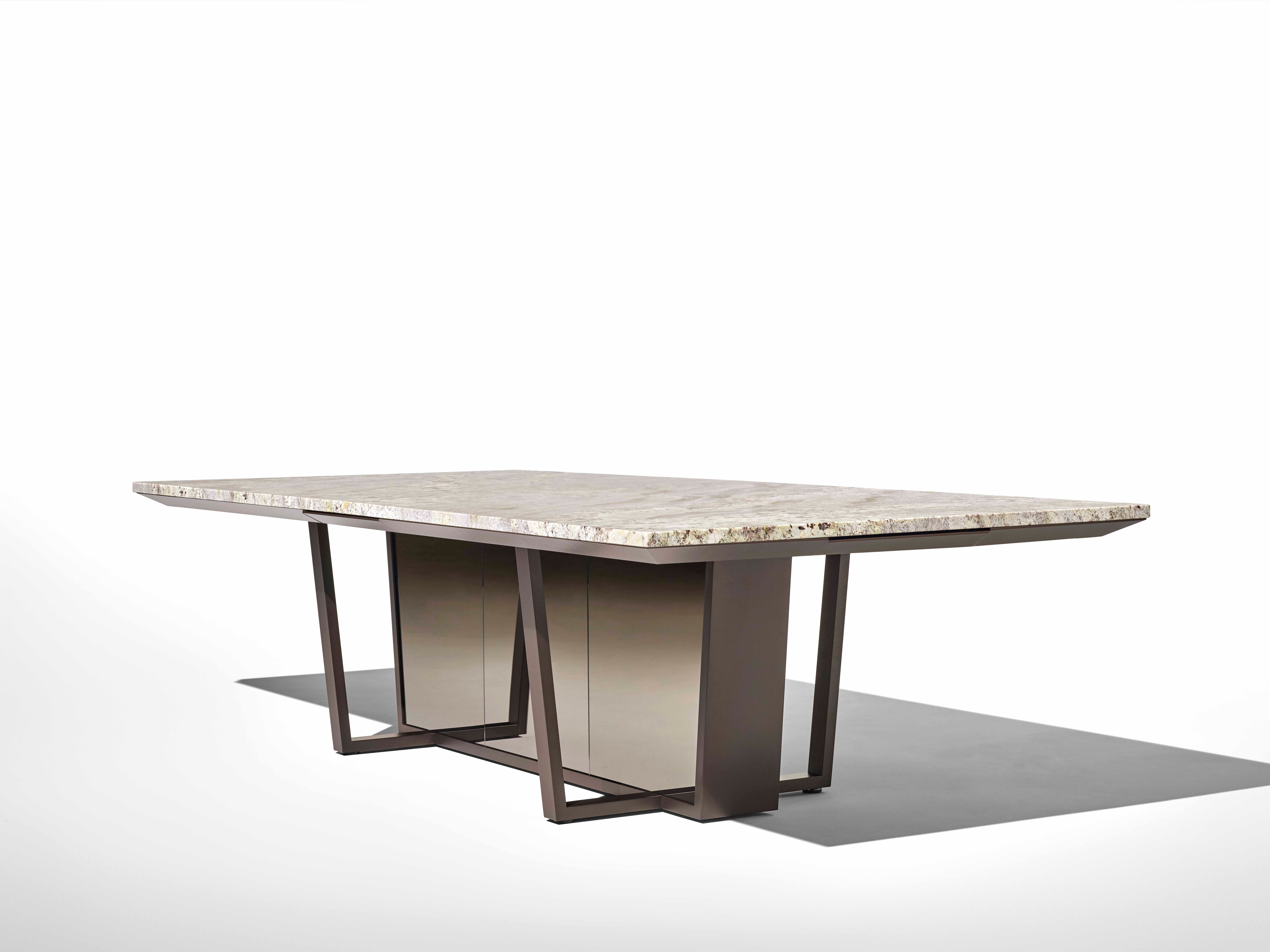 The Crossbeam table for Nucraft has an angled and modern form.