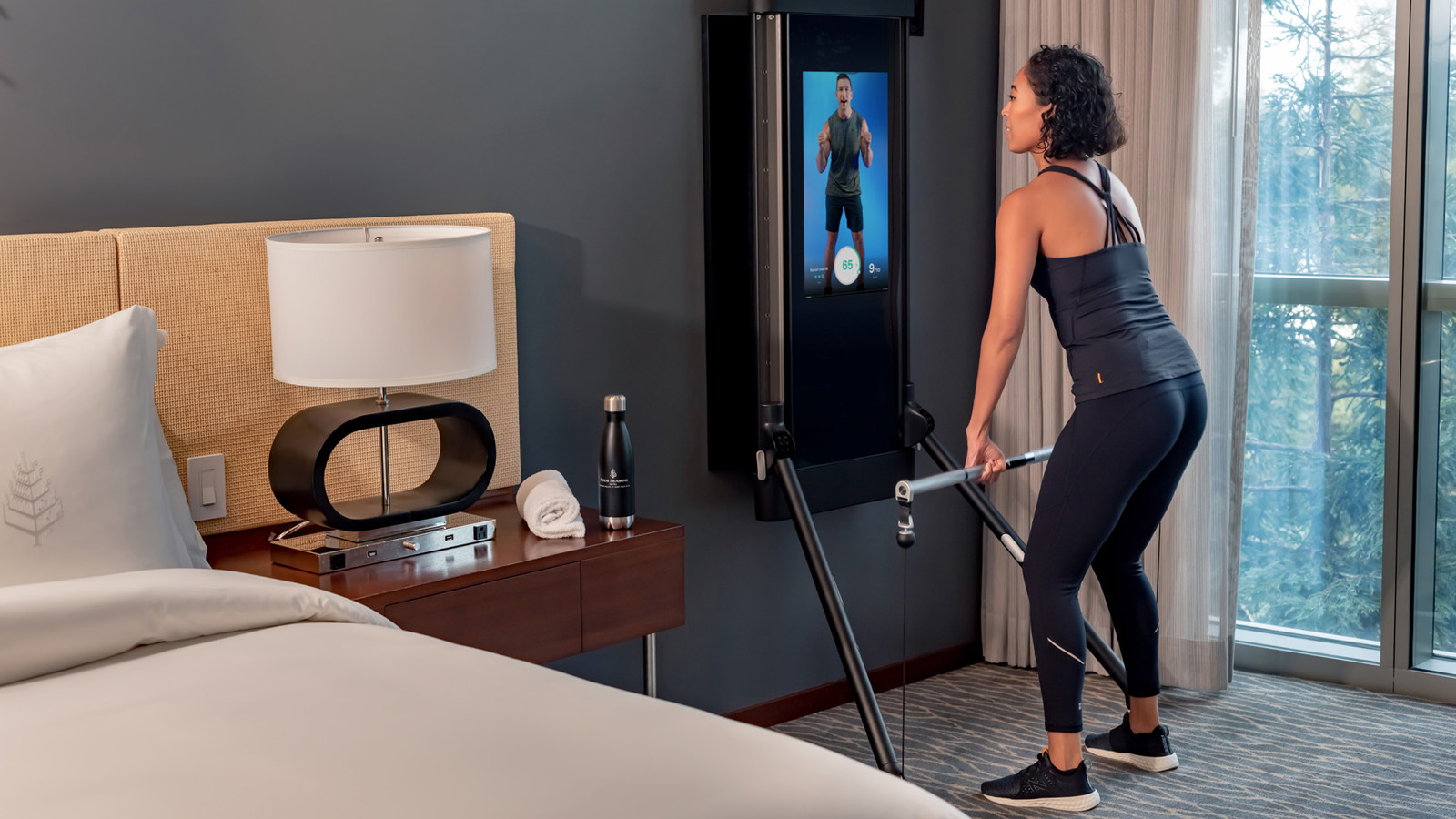 Select Four Seasons Silicon Valley guestrooms feature Tonal, an all-in-one fitness system and personal trainer.