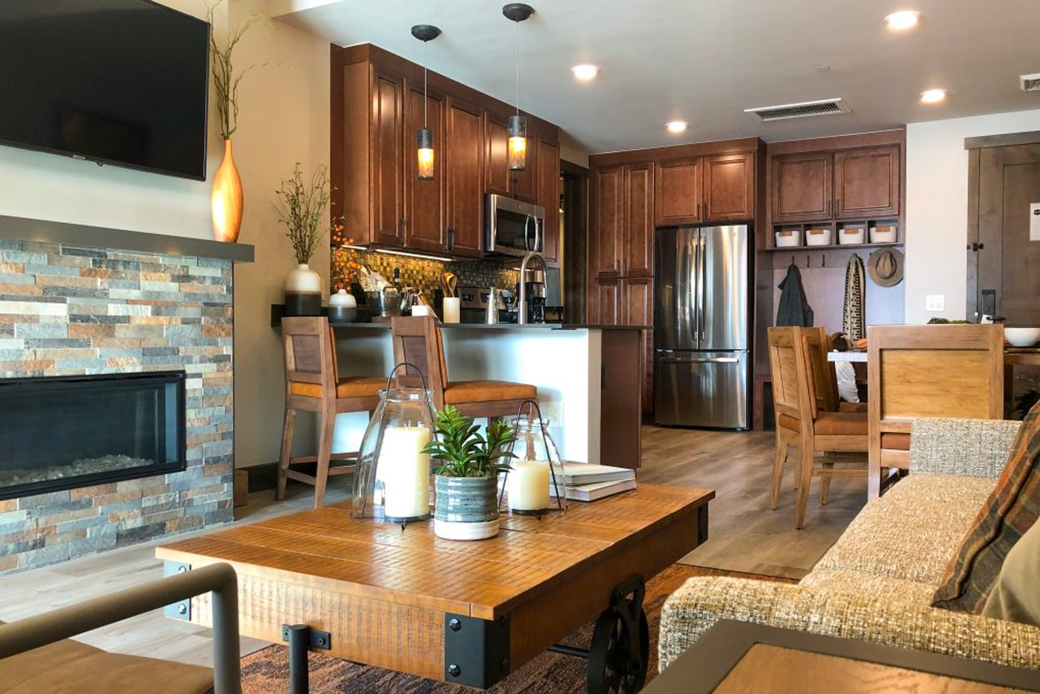 Villas also include fully-equipped kitchens, living rooms and fireplaces.