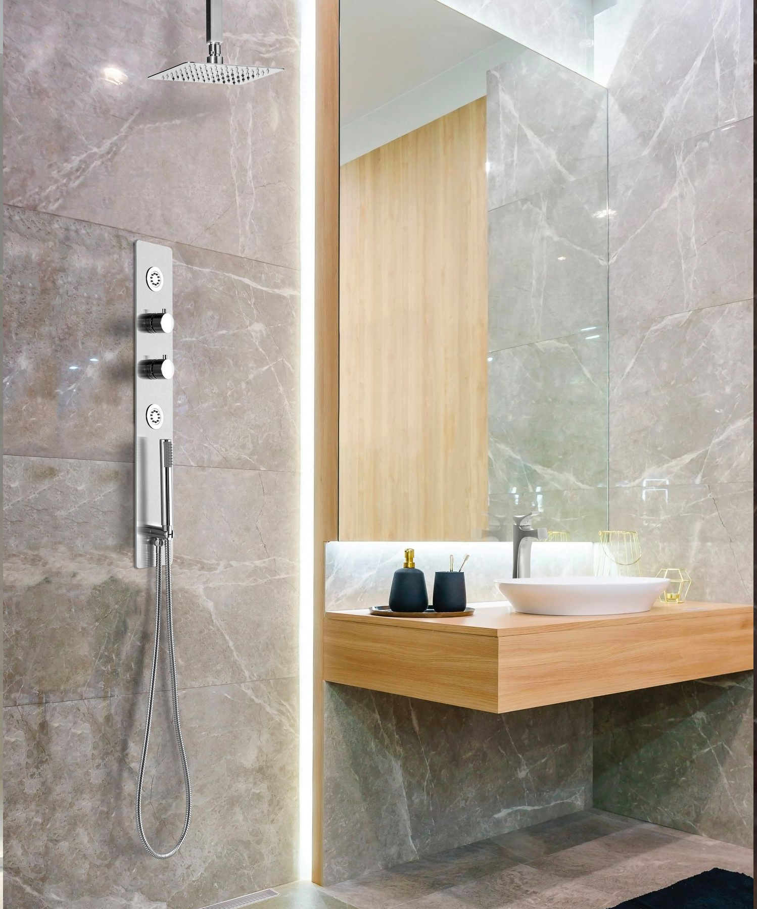 The shower system offers control over shower operations by allowing users to fine-tune their preferences and maintain water temperature within a single degree.
