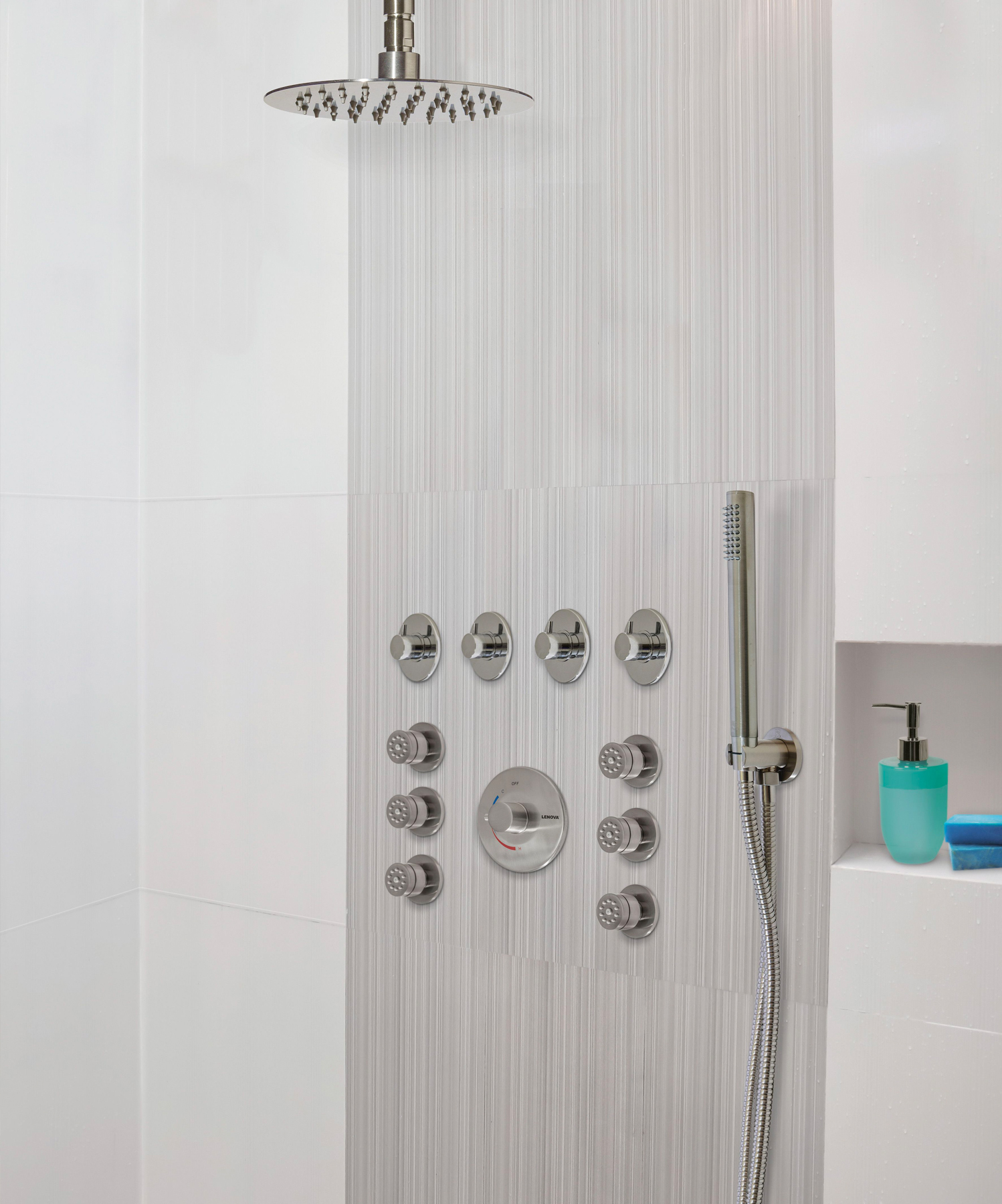 Designed as part of a $35 million R&D project, this shower system is the result of advanced engineering and technology.