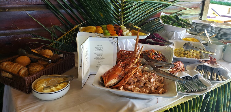A feast including lobster salad and grilled meats awaited SeaCloud's guests at Chatham Bay, Union Island. Photo by Susan J. Young