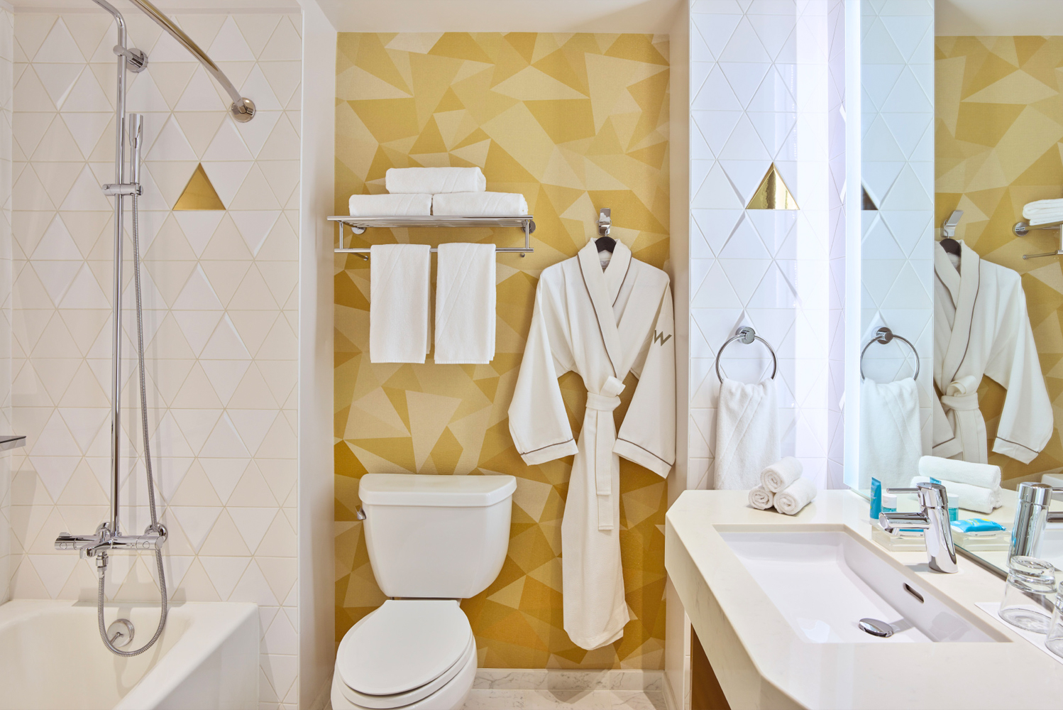 The walls display a gradient interpretation of the area's fog patterns with subtle touches of gold dust in the wallpaper.