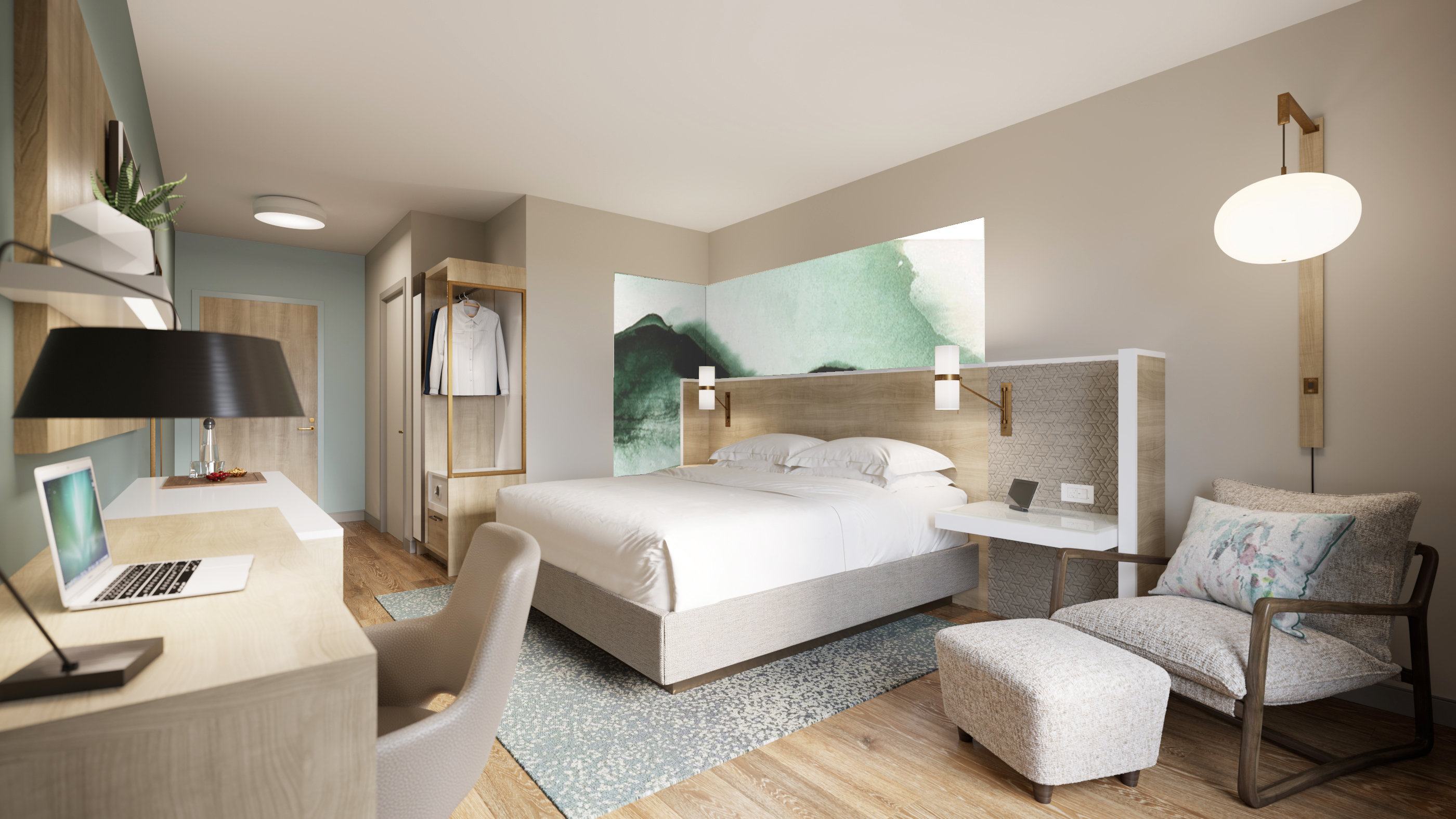 """Guestrooms have """"serene"""" color schemes with clean, simple lines."""