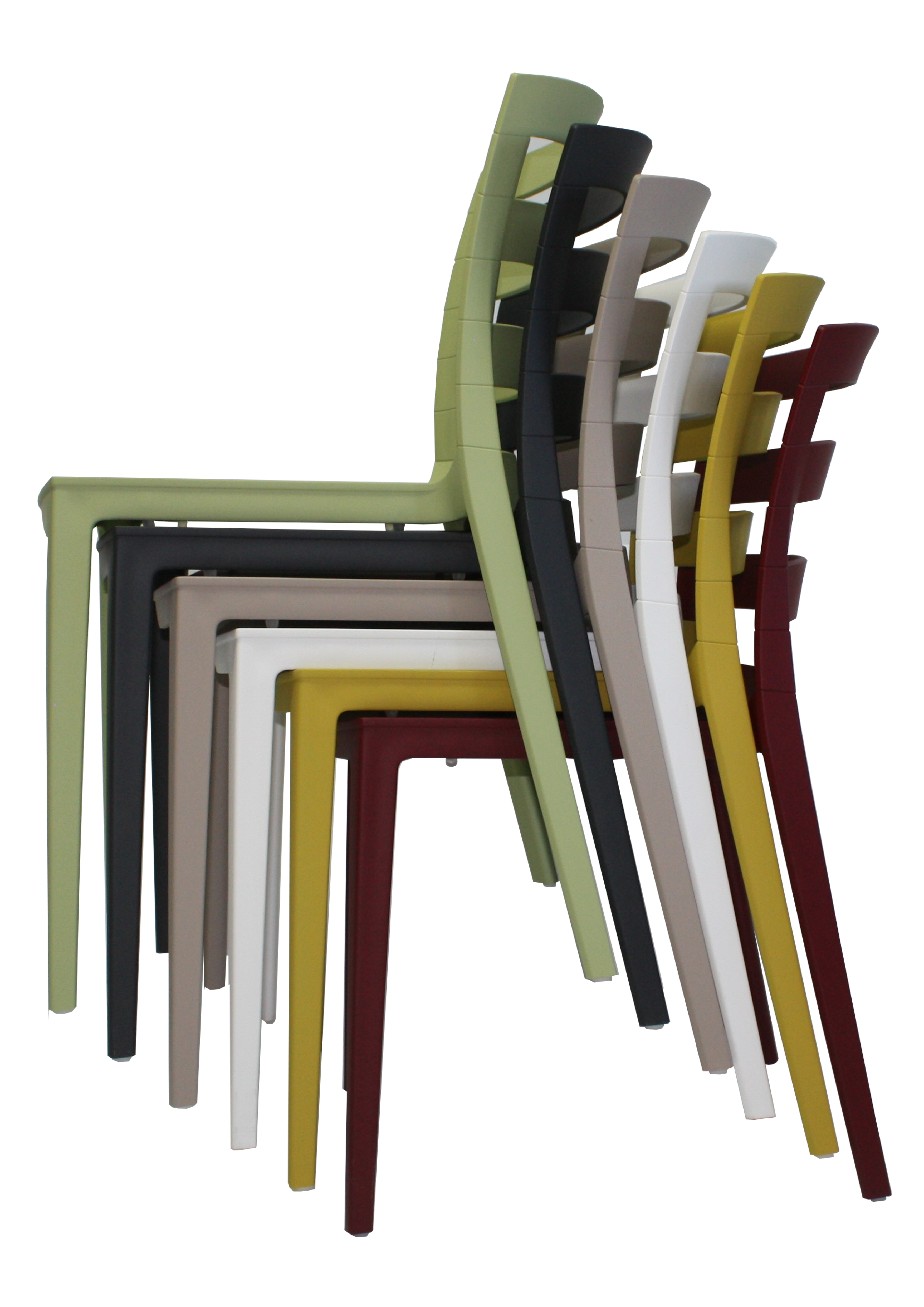 These side chairs are stackable to six high.