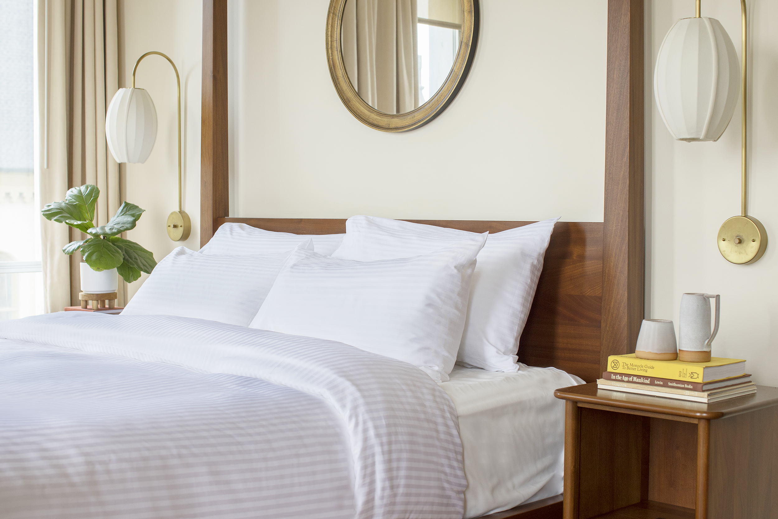 A 300-thread-count sheet, like Riegel Linen's, is a good pick for midscale hotels and higher.