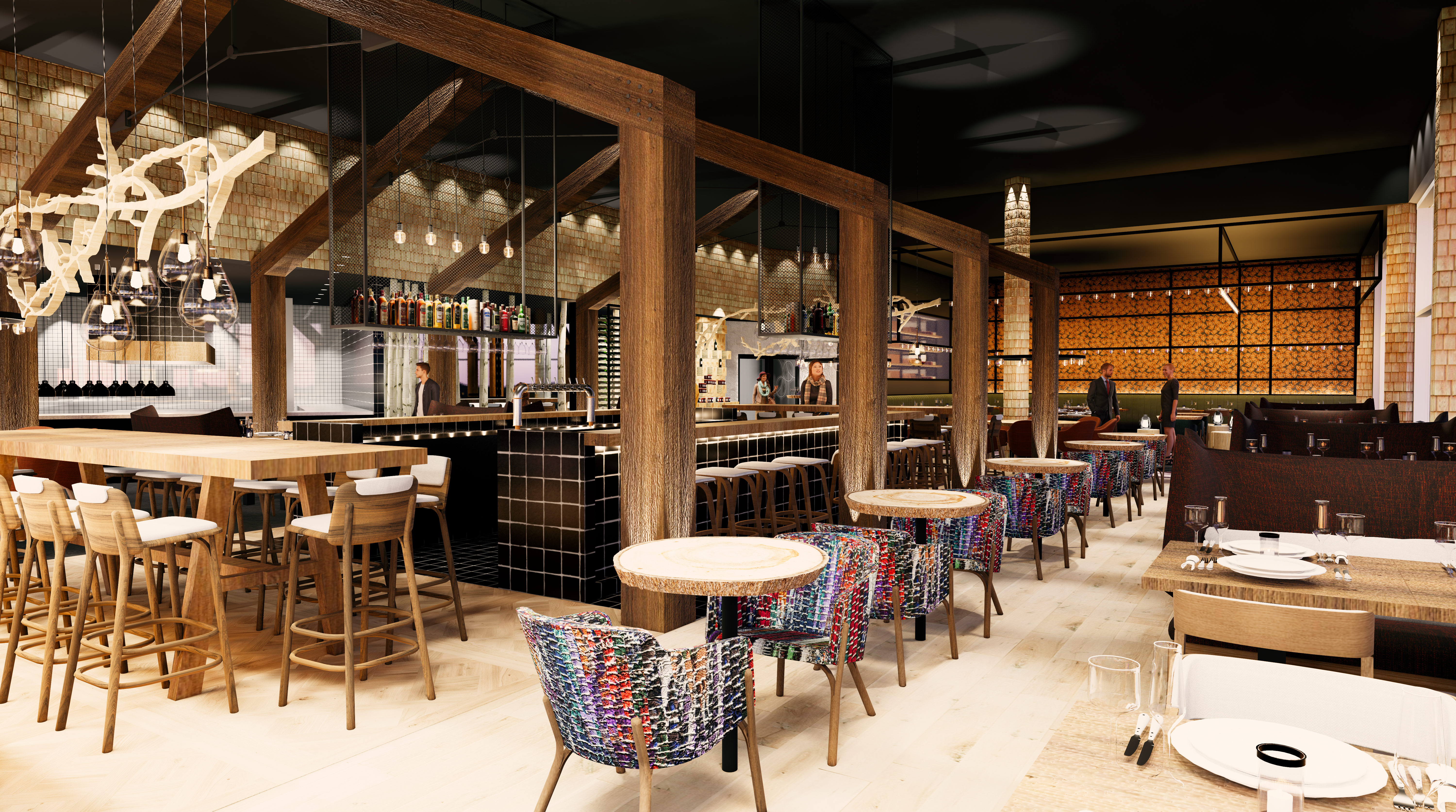 Beneath exposed wooden beams, the lounge has a large central bar topped with huge branches.