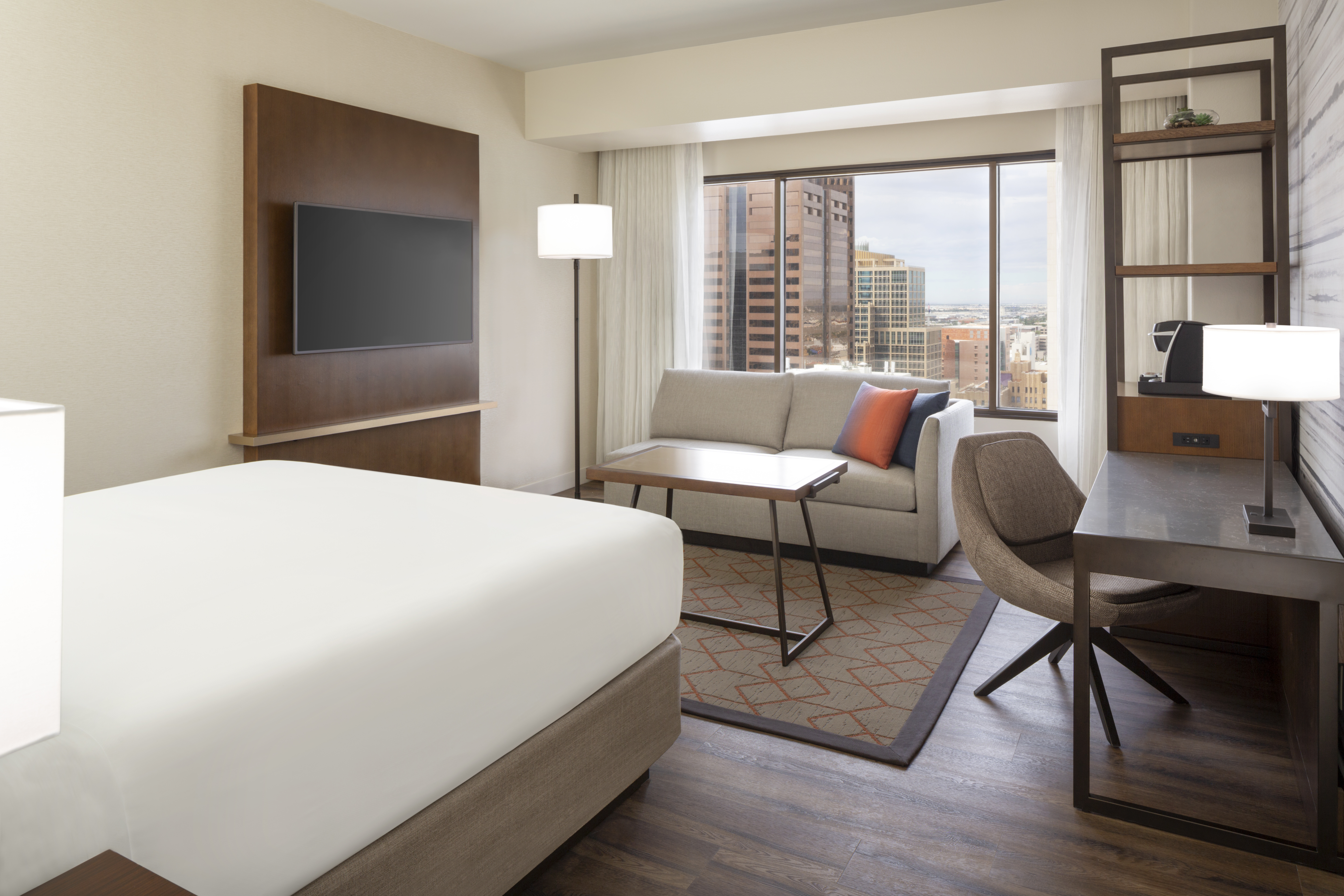 The hotel's 693 guestrooms now have an open-concept design.
