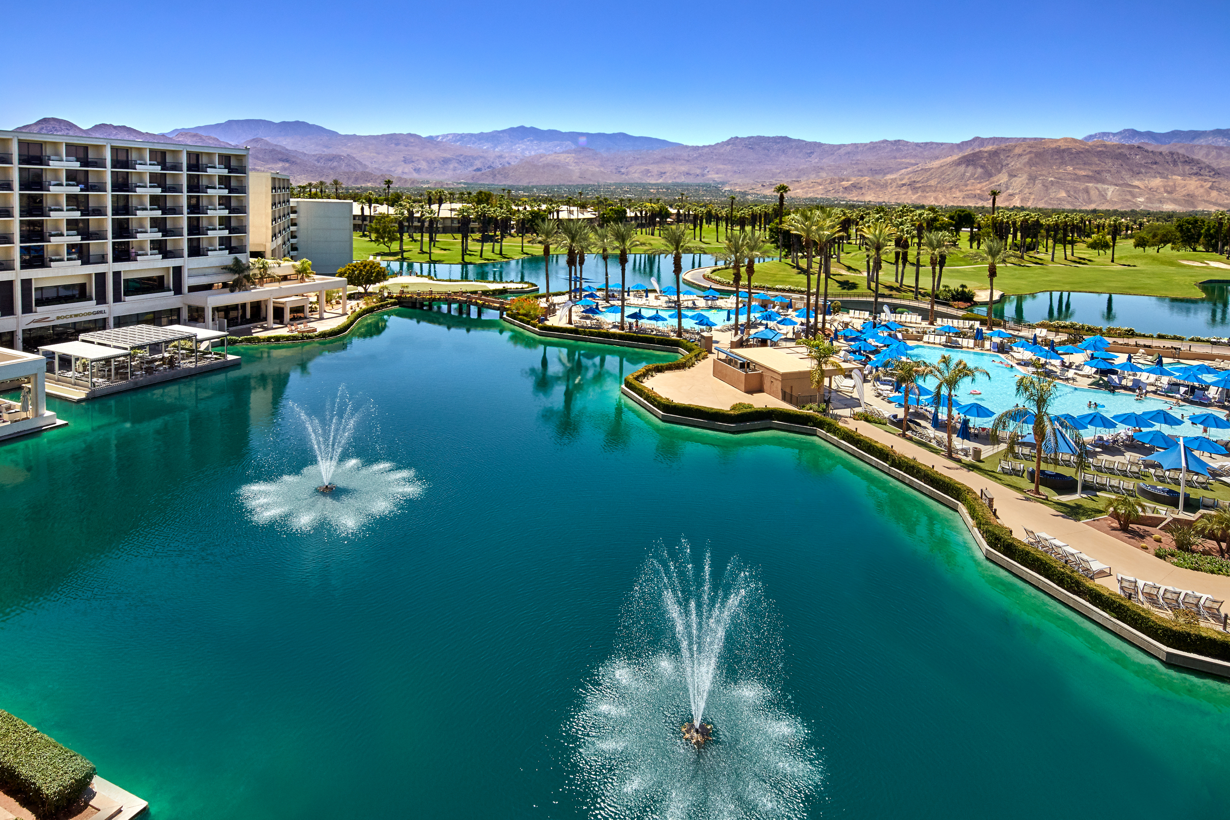 The resort has 18 acres of lakes and waterways.