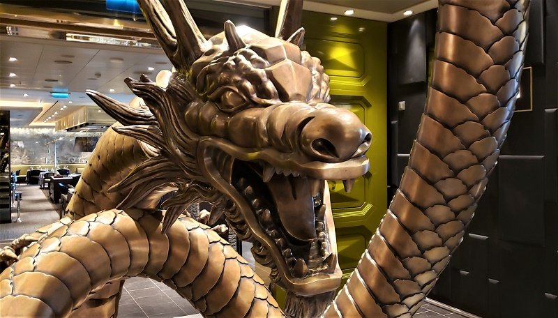 Guests are greeted by this dragon at the entry to Pacific Rim, a specialty Pan-Asian restaurant. Photo by Susan J. Young