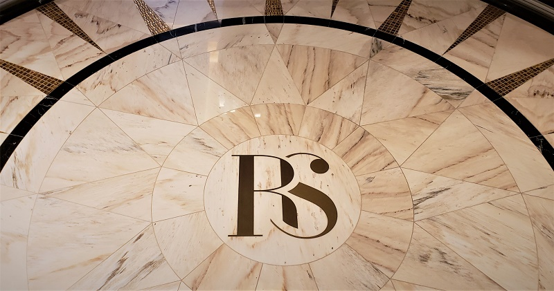 Guests about to enter the Regent Suite will see the RS on the luxurious entryway flooring. Photo by Susan J. Young