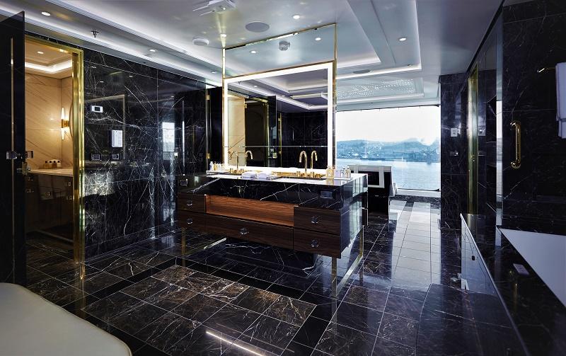 The Regent Suite's spacious master bathroom is luxuriouis and black. Photo courtesy of Regent Seven Seas Cruises.