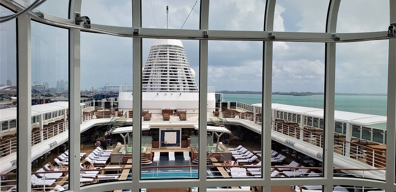 View from Glass Elevator to Pool Deck. Photo by Susan J. Young